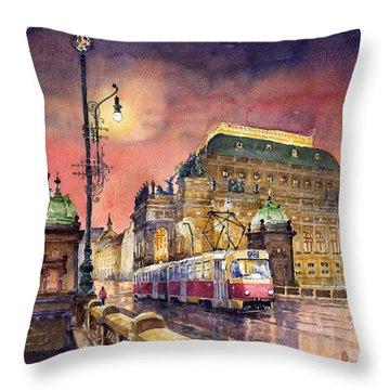 Prague  Night Tram National Theatre Throw Pillow