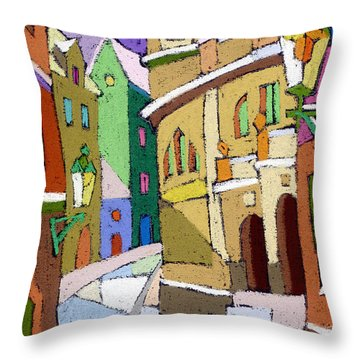Prague Old Street Karlova Winter Throw Pillow