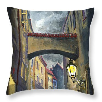 Prague Old Street Love Story Throw Pillow