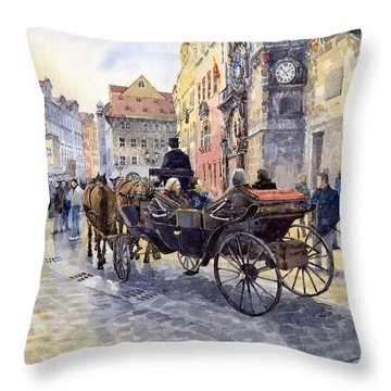 Prague Old Town Hall And Astronomical Clock Throw Pillow by Yuriy  Shevchuk