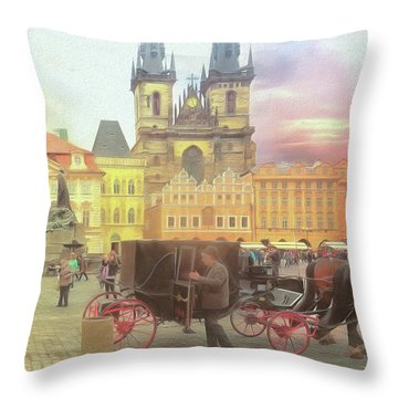 Prague Old Town Square Throw Pillow