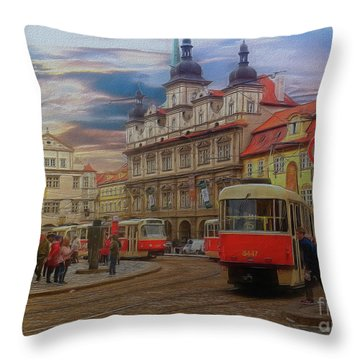 Prague, Old Town, Street Scene Throw Pillow