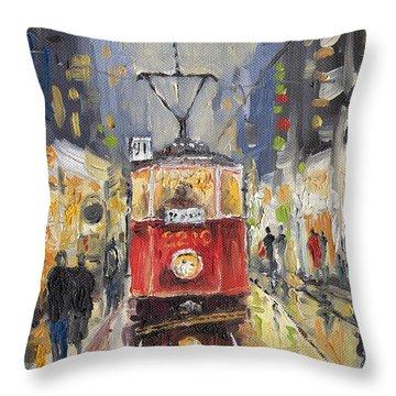 Prague Old Tram 08 Throw Pillow by Yuriy  Shevchuk
