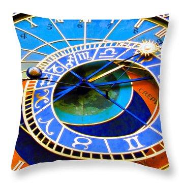 Prague Orloj Throw Pillow by Andreas Thust