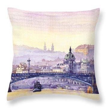Prague Panorama Chehuv Bridge Throw Pillow by Yuriy  Shevchuk