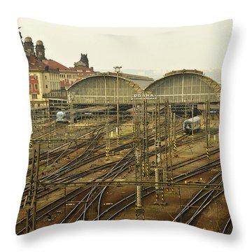 Prague Railroad Station Throw Pillow by Marek Stepan