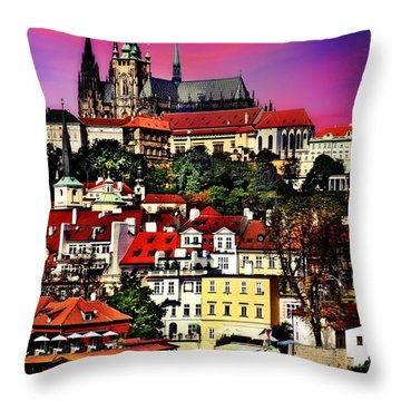 River Front Dining In Prague  Throw Pillow