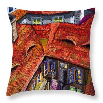 Prague Roofs 01 Throw Pillow
