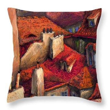 Prague Roofs Throw Pillow