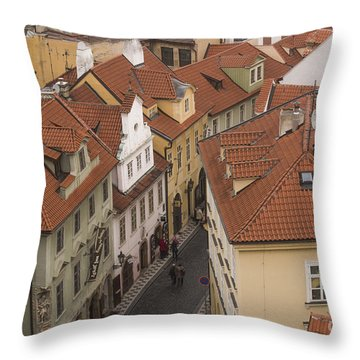 Prague Rooftops Throw Pillow