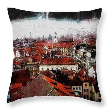 Throw Pillow featuring the painting Prague Skyline by Kai Saarto