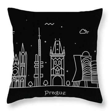 Prague Skyline Travel Poster Throw Pillow