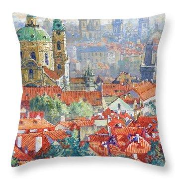 Prague Summer Panorama 1 Throw Pillow