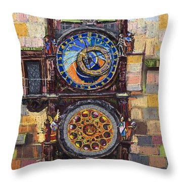 Prague The Horologue At Oldtownhall Throw Pillow by Yuriy  Shevchuk