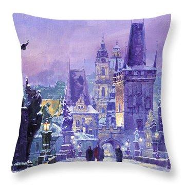Prague Winter Charles Bridge Throw Pillow by Yuriy Shevchuk