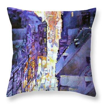 Praha Mostecka Str. Winter Evening Throw Pillow by Yuriy Shevchuk