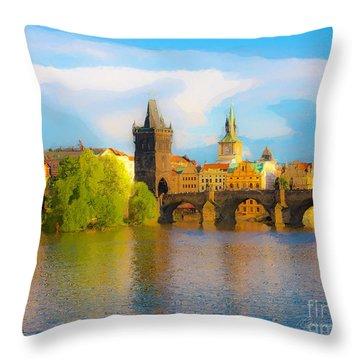 Praha - Prague - Illusions Throw Pillow