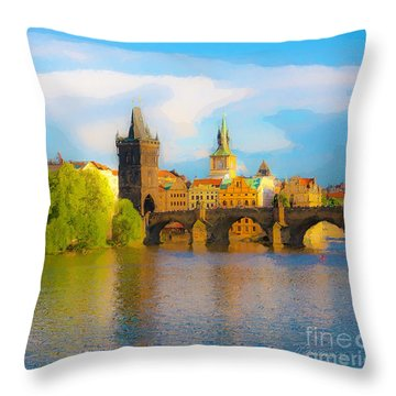 Throw Pillow featuring the photograph Praha - Prague - Illusions by Tom Cameron