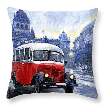 Praha Rnd Bus 1950 Skoda 706 Ro Throw Pillow by Yuriy Shevchuk