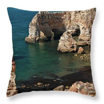 Praia Da Marinha Cliffs And Sea Throw Pillow