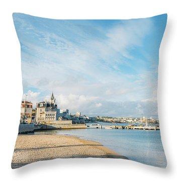 Praia Da Ribeira, Cascais, Portugal Throw Pillow