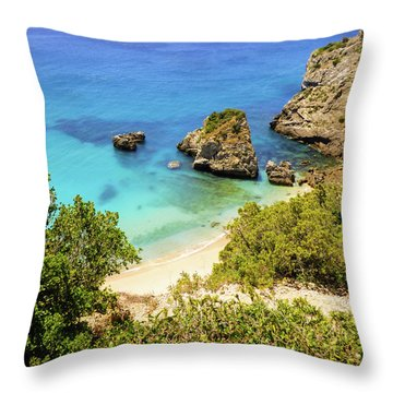 Praia Da Ribeira Do Cavalo In Sesimbra, Portugal Throw Pillow