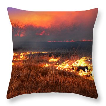 Throw Pillow featuring the photograph Prairie Burn by Rod Seel