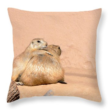 Prairie Dog Friends Throw Pillow by Laurel Powell