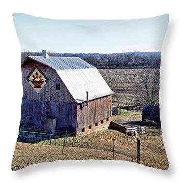 Throw Pillow featuring the photograph Prairie Flower Quilt Barn by Cricket Hackmann