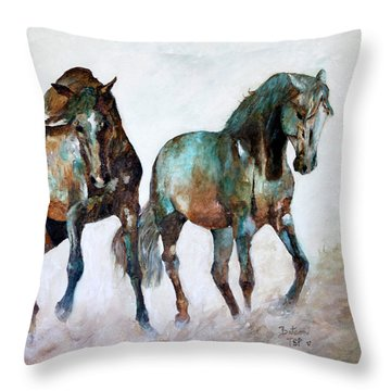 Prairie Horse Dance Throw Pillow