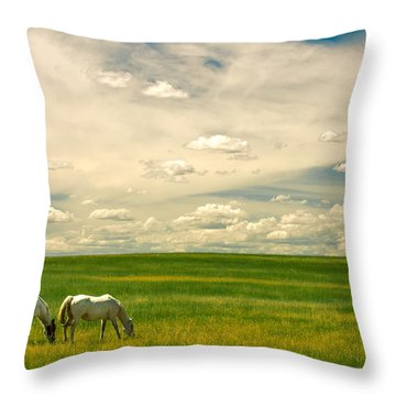 Prairie Horses Throw Pillow