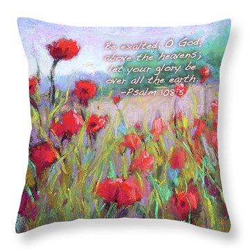 Praising Poppies With Bible Verse Throw Pillow