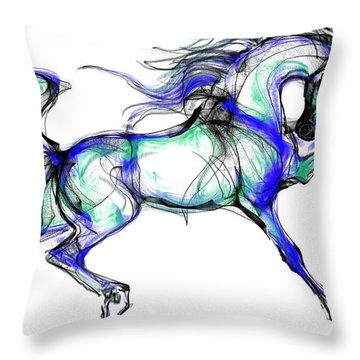 Prancing Arabian Horse Throw Pillow
