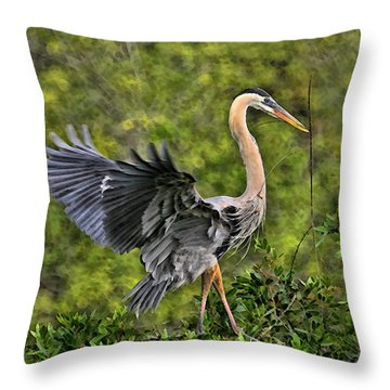Throw Pillow featuring the photograph Prancing Heron by Shari Jardina