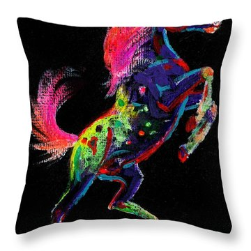 Prancing Pony Throw Pillow by Louise Green