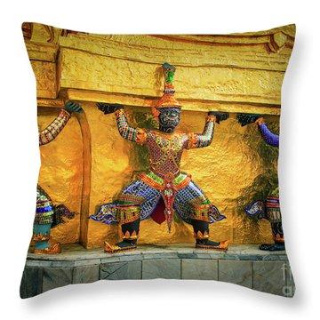 Prasatphradhepbidorn Golden Wall Throw Pillow by Inge Johnsson