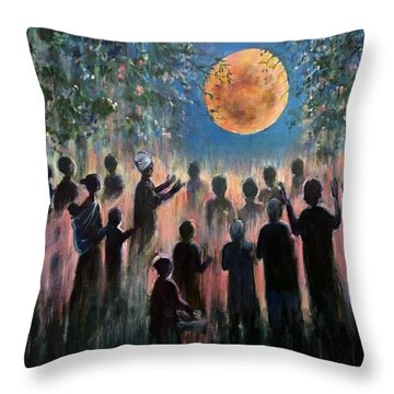 Throw Pillow featuring the painting Pray For Peace by Laila Awad Jamaleldin