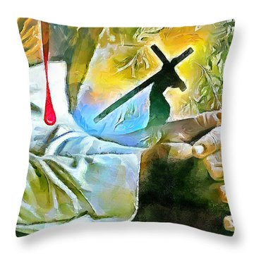 Prayer And The Blood Throw Pillow