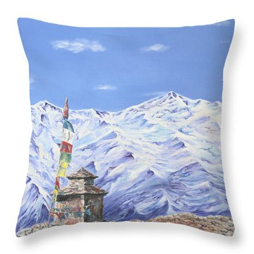 Throw Pillow featuring the painting Prayer Flag by Elizabeth Lock