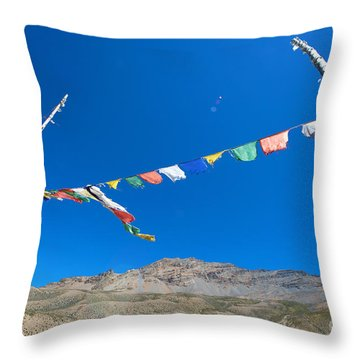 Throw Pillow featuring the photograph Prayer Flag by Yew Kwang