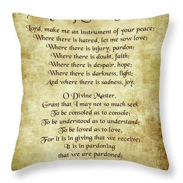 Prayer Of St Francis - Antique Parchment Throw Pillow