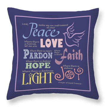 Prayer Of St Francis - Square Pastel Typographic Throw Pillow by Ginny Gaura