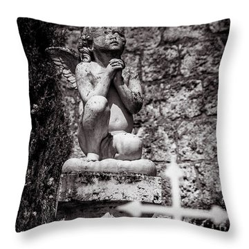 Praying Angel In Auvillar Cemetery Bw Throw Pillow by RicardMN Photography