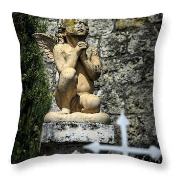 Praying Angel In Auvillar Cemetery Throw Pillow by RicardMN Photography
