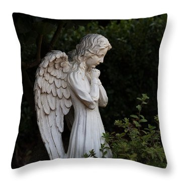 Praying Angel With Verse Throw Pillow