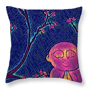 Praying Buddha Throw Pillow