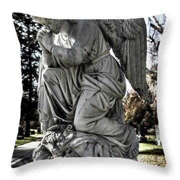 Throw Pillow featuring the photograph Praying Cemetery Angel  by Gary Whitton