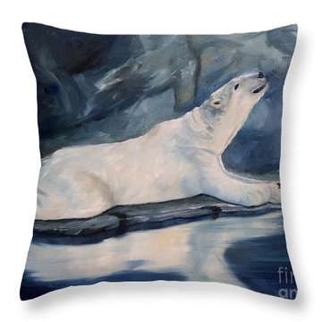 Throw Pillow featuring the painting Praying Polar Bear Original Oil Painting by Brenda Thour