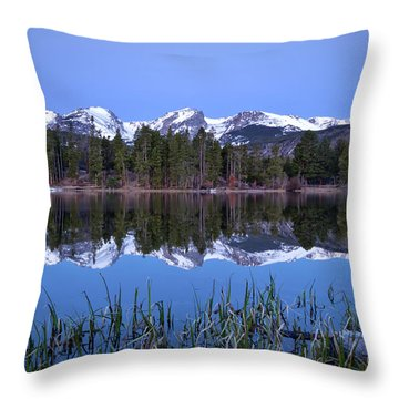 Pre Dawn Image Of The Continental Divide And A Sprague Lake Refl Throw Pillow by Ronda Kimbrow