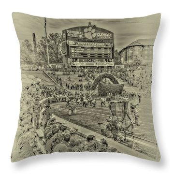 Clemson Tigers Pre Game Throw Pillow